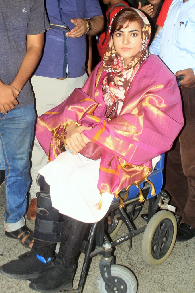 Pakistani activist for female education and the youngest Nobel Prize laureate Malala Yousafzai reaches in Bhubaneswar.